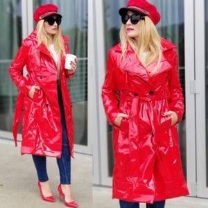 Red Raincoat Trench Latex Coat Statement Piece